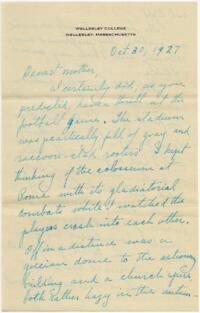 Letter from Grace Rose, Wellesley, Massachusetts, to Mrs A.G. Rose, Martinsville, Indiana, 1927 October 30