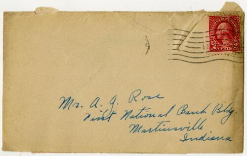 Letter from Grace Rose, Wellesley, Massachusetts, to Mr. A.G. Rose, Martinsville, Indiana, 1927 November 5