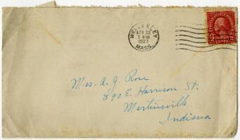 Letter from Grace Rose, Wellesley, Massachusetts, to Mrs. A.G. Rose, Martinsville, Indiana, 1927 November 21