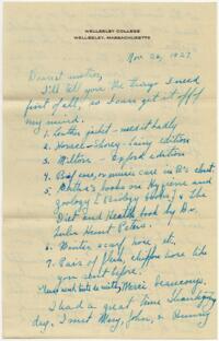 Letter from Grace Rose, Wellesley, Massachusetts, to Mrs. A.G. Rose, Martinsville, Indiana, 1927 November 26-1927 November 27