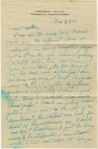 Letter from Grace Rose, Wellesley, Massachusetts, to Mrs. A.G. Rose, Martinsville, Indiana, 1927 December 4