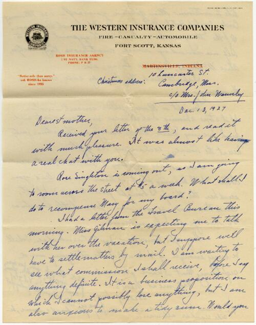 Letter from Grace, Rose, Wellesley, Massachusetts, to Mrs. A.G. Rose, Martinsville, Indiana, 1927 December 13