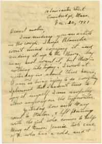 Letter from Grace Rose, Cambridge, Massachusetts, to Mrs. A.G. Rose, Martinsville, Indiana, 1927 December 30