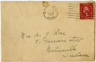 Letter from Grace Rose, Wellesley, Massachusetts, to Mrs. A.G. Rose, Martinsville, Indiana, 1928 January 4