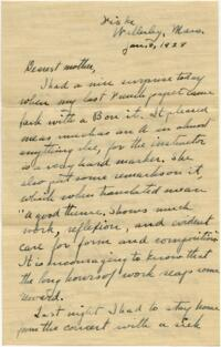Letter from Grace Rose, Wellesley, Massachusetts, to Mrs. A.G. Rose, Martinsville, Indiana, 1928 January 6-1928 January 9