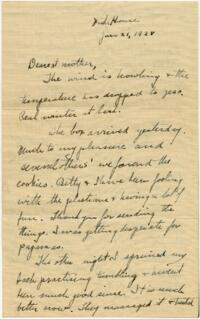 Letter from Grace Rose, Wellesley, Massachusetts, to Mrs. A.G. Rose, Martinsville, Indiana, 1928 January 21 ; Letter from Grace Rose, Wellesley, Massachusetts, to Mr. A.G. Rose, Martinsville, Indiana, 1928 January 21