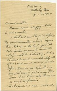 Letter from Grace Rose, Wellesley, Massachusetts, to Mrs. A.G. Rose, Martinsville, Indiana, 1928 January 30