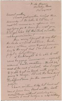 Letter from Grace Rose, Wellesley, Massachusetts, to Mrs. A.G. Rose, Martinsville, Indiana, 1928 February 22