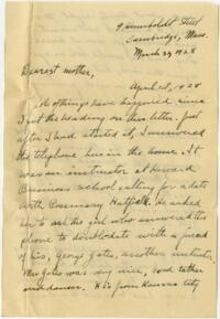Letter from Grace Rose, Cambridge, Massachusetts, to Mrs. A.G. Rose, Martinsville, Indiana, 1928 March 31-1928 April 1