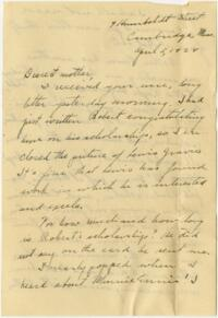 Letter from Grace Rose, Wellesley, Massachusetts, to Mrs. A.G. Rose, Martinsville, Indiana, 1928 April 5
