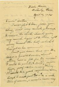 Letter from Grace Rose, Wellesley, Massachusetts, to Mrs. A.G. Rose, Martinsville, Indiana, 1928 April 12 - 1928 April 13
