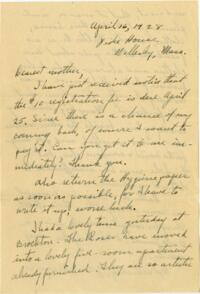 Letter from Grace Rose, Wellesley, Massachusetts, to Mrs. A.G. Rose, Martinsville, Indiana, 1928 April 16