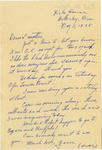 Letter from Grace Rose, Wellesley, Massachusetts, to Mrs. A.G. Rose, Martinsville, Indiana, 1928 May 01