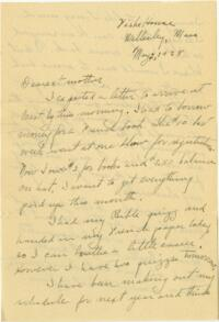 Letter from Grace Rose, Wellesley, Massachusetts, to Mrs. A.G. Rose, Martinsville, Indiana, 1928 May 02