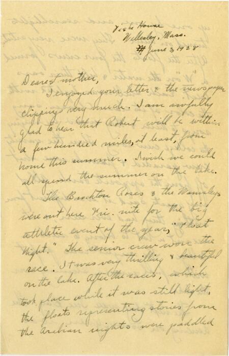 Letter from Grace Rose, Wellesley, Massachusetts, to Mrs. A.G. Rose, Martinsville Indiana, 1928 June 03