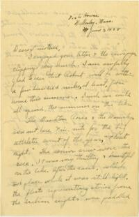 Letter from Grace Rose, Wellesley, Massachusetts, to Mrs. A.G. Rose, Martinsville Indiana, 1928 June 03