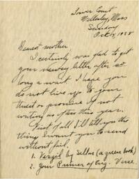 Letter from Grace Rose, Wellesley, Massachusetts, to Mrs. A.G. Rose, Martinsville, Indiana, 1928 October 14