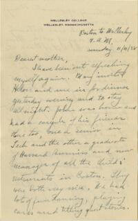 Letter from Grace Rose, Wellesley, Massachusetts, to Mrs. A.G. Rose, Martinsville, Indiana, 1928 November 11