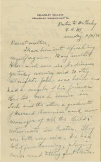 Letter from Grace Rose, Wellesley, Massachusetts, to Mrs. A.G. Rose, Martinsville, Indiana, 1928 November 11