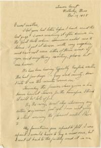 Letter from Grace Rose, Wellesley, Massachusetts, to Mrs. A.G. Rose, Martinsville, Indiana, 1928 November 19