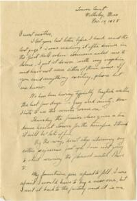 Letter from Grace Rose, Wellesley, Massachusetts, to Mrs. A.G. Rose, Martinsville, Indiana, 1928 November 19