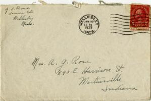 Letter from Grace Rose, Wellesley, Massachusetts, to Mrs. A.G. Rose, Martinsville, Indiana, 1929 January 15