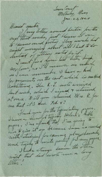 Letter from Grace Rose, Wellesley, Massachusetts, to Mrs. A.G. Rose, Martinsville, Indiana, 1929 January 22