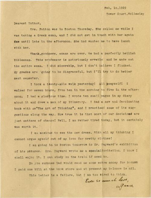Letter from Grace Rose, Wellesley, Massachusetts, to Mrs. A.G. Rose, Martinsville, Indiana, 1929 February 10