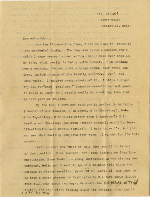 Letter from Grace Rose, Wellesley, Massachusetts, to Mrs. A.G. Rose, Martinsville, Indiana, 1929 February 21