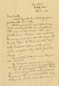 Letter from Grace Rose, Wellesley, Massachusetts, to Mrs. A.G. Rose, Martinsville, Indiana, 1929 March 1