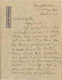 Letter from Grace Rose, Cambridge, Massachusetts, to Mrs. A.G. Rose, Martinsville, Indiana, 1929 March 31
