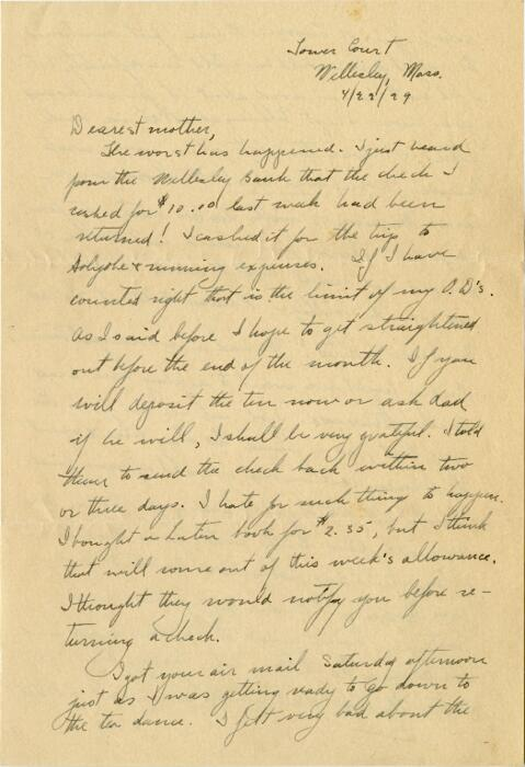 Letter from Grace Rose, Wellesley, Massachusetts, to Mrs. A.G. Rose, Martinsville, Indiana, 1929 April 22