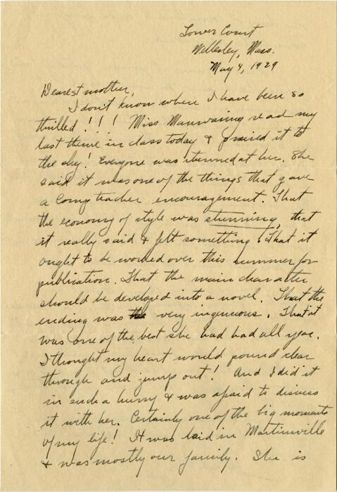 Letter from Grace Rose, Wellesley, Massachusetts, to Mrs. A.G. Rose, Martinsville, Indiana, 1929 May 4
