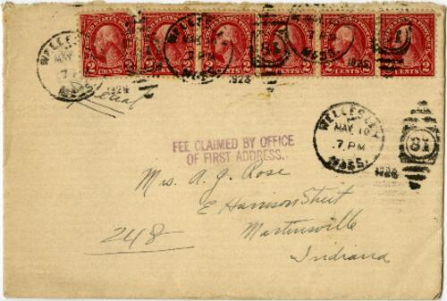 Card from Grace Rose, Wellesley, Massachusetts, to Mrs. A.G. Rose, Martinsville, Indiana, 1929 May 10