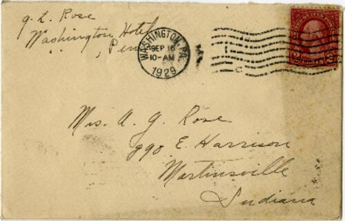 Letter from Grace Rose, Washington, Pennsylvania, to Mrs. A.G. Rose, Martinsville, Indiana, 1929 September 15