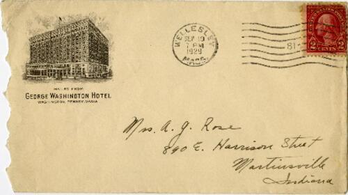 Letter from Grace Rose, Washington, Pennsylvania, to Mrs. A.G. Rose, Martinsville, Indiana, 1929 September 18