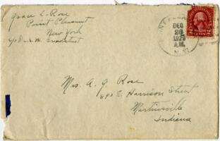 Letter from Grace Rose, Point Pleasant, New York, to Mrs. A.G. Rose, Martinsville, Indiana, 1929 December 25
