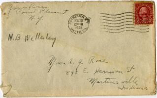 Letter from Grace Rose, Point Pleasant, New York, to Mrs. A.G. Rose, Martinsville, Indiana, 1929 December 29