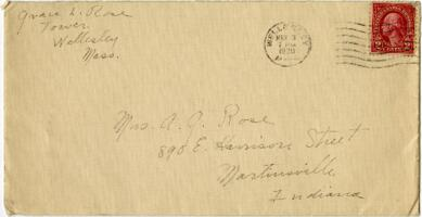 Letter from Grace Rose, Wellesley, Massachusetts, to Mrs. A.G. Rose, Martinsville, Indiana, 1930 March 1-1930 March 3