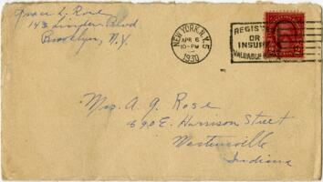Letter from Grace Rose, Brooklyn, New York, to Mrs. A.G. Rose, Martinsville, Indiana, 1930 April 6