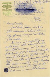 Letter from Grace Rose, Wellesley, Massachusetts, to Mrs. A.G. Rose, Martinsville, Indiana, 1930 April 9