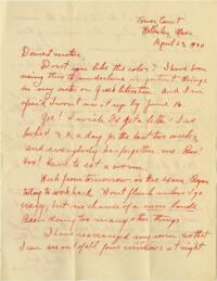 Letter from Grace Rose, Wellesley, Massachusetts, to Mrs. A.G. Rose, Martinsville, Indiana, 1930 April 23