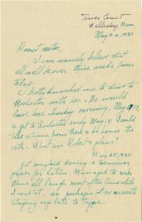 Letter from Grace Rose, Wellesley, Massachusetts, to Mrs. A.G. Rose, Martinsville, Indiana, 1930 May 26