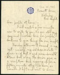 Letter from Ruby Willis, Wellesley, Massachusetts, to Dr. and Mrs. William H. Willis, Reading, Massachusetts, 1905 October 25