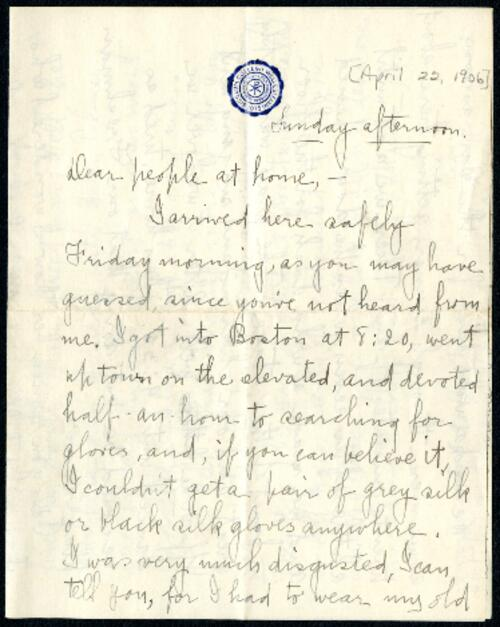 Letter from Ruby Willis, Wellesley, Massachusetts, to Dr. and Mrs. William H. Willis, Reading, Massachusetts, 1906 April 22