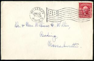 Letter from Ruby Willis, Wellesley, Massachusetts, to Dr. and Mrs. William H. Willis, Reading, Massachusetts, 1908 January 12