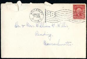 Letter from Ruby Willis, Wellesley, Massachusetts, to Dr. and Mrs. William H. Willis, Reading, Massachusetts, 1908 January 19
