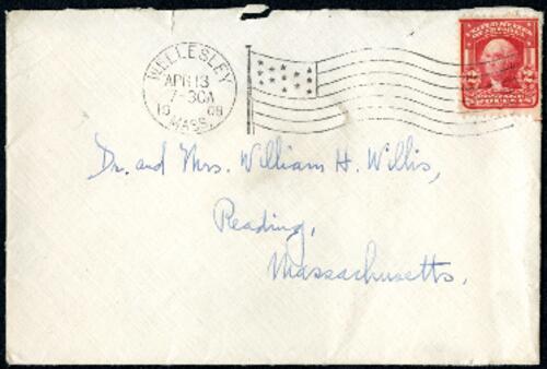 Letter from Ruby Willis, Wellesley, Massachusetts, to Dr. and Mrs. William H. Willis, Reading, Massachusetts, 1908 April 12