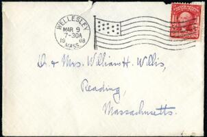 Letter from Ruby Willis, Wellesley, Massachusetts, to Dr. and Mrs. William H. Willis, Reading, Massachusetts, 1908 March 8