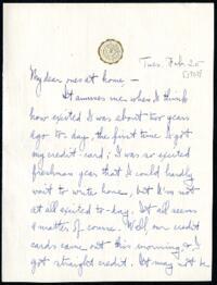 Letter from Ruby Willis, Wellesley, Massachusetts, to Dr. and Mrs. William H. Willis, Reading, Massachusetts, 1908 February 25